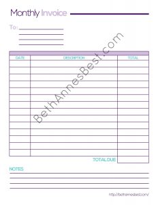 Monthly Invoice